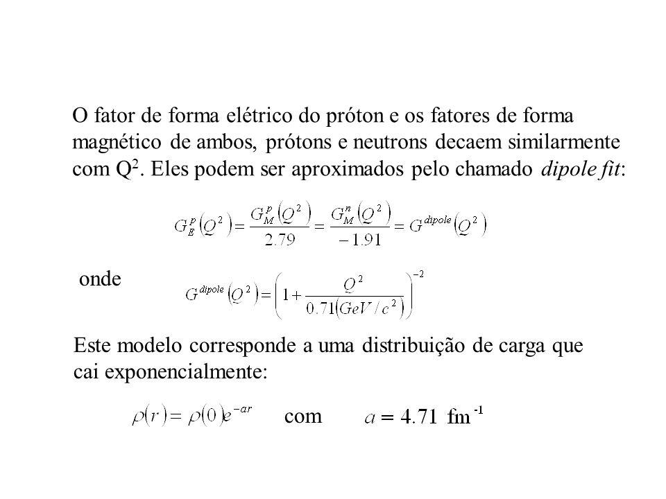 O fator de forma elétrico do próton e os fatores de forma magnético de ambos, prótons e neutrons decaem similarmente com Q 2. Eles podem ser aproximad