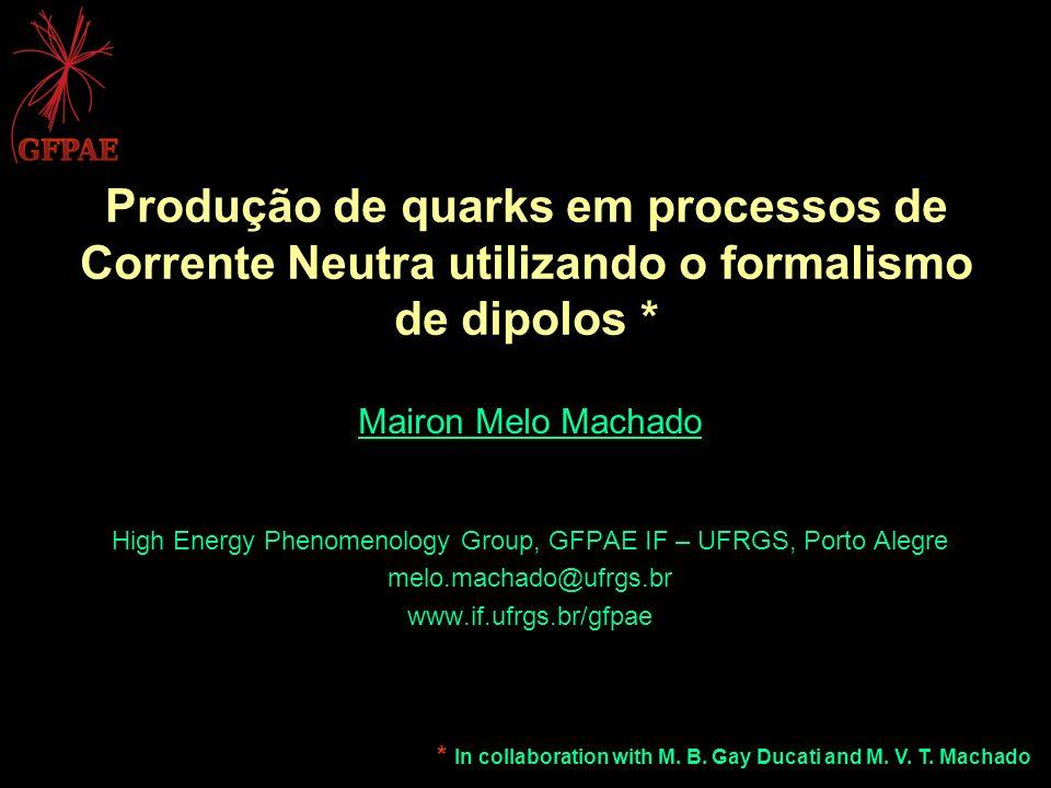 Produção de quarks em processos de Corrente Neutra utilizando o formalismo de dipolos * Mairon Melo Machado High Energy Phenomenology Group, GFPAE IF