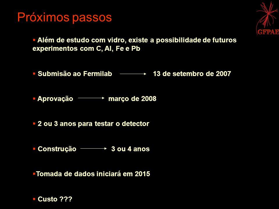 Próximos passos Além de estudo com vidro, existe a possibilidade de futuros experimentos com C, Al, Fe e Pb Submisão ao Fermilab 13 de setembro de 200