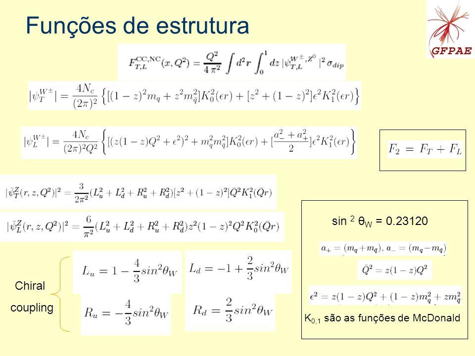 Funções de estrutura Chiral coupling sin 2 θ W = 0.23120 K 0,1 são as funções de McDonald