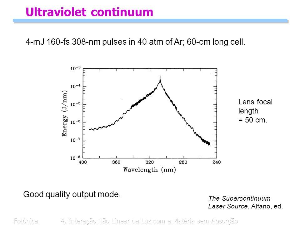 Fotônica4. Interação Não Linear da Luz com a Matéria sem Absorção Ultraviolet continuum 4-mJ 160-fs 308-nm pulses in 40 atm of Ar; 60-cm long cell. Le