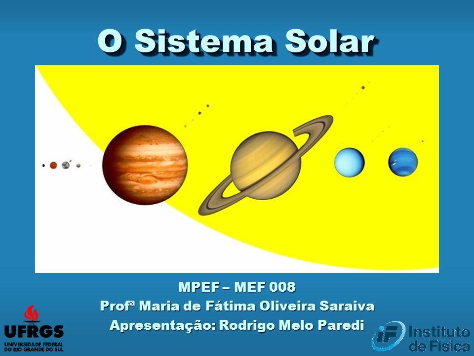 O Sistema Solar MPEF – MEF 008 Profª Maria de Fátima Oliveira Saraiva Apresentação: Rodrigo Melo Paredi