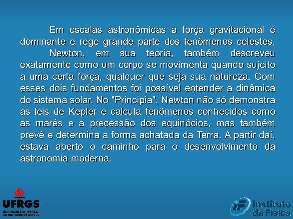 Em escalas astronômicas a força gravitacional é dominante e rege grande parte dos fenômenos celestes. Newton, em sua teoria, também descreveu exatamen
