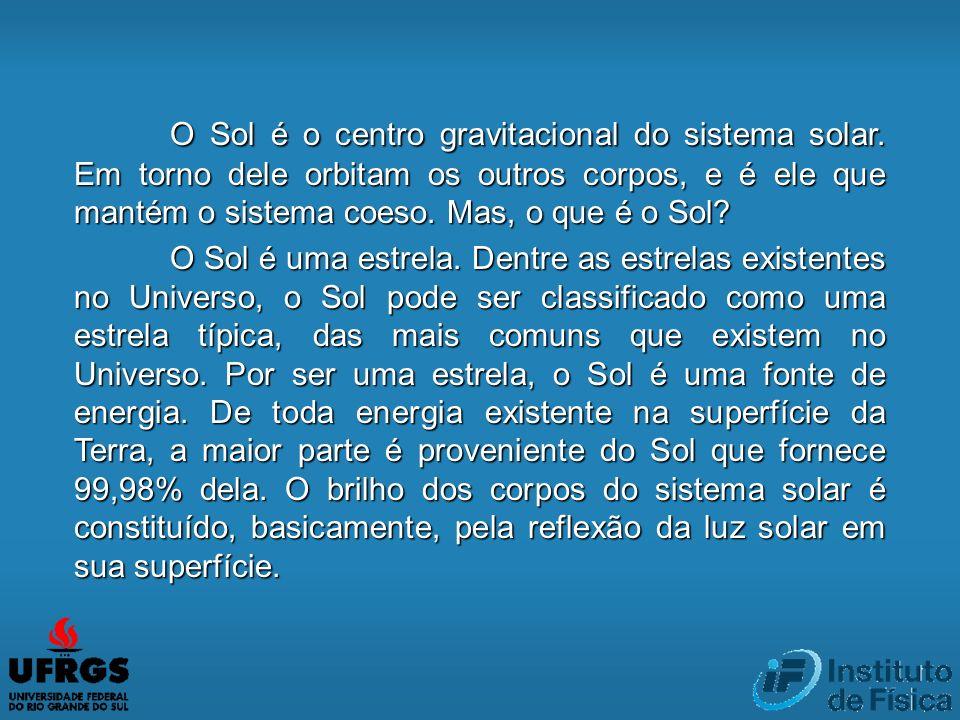 O Sol é o centro gravitacional do sistema solar. Em torno dele orbitam os outros corpos, e é ele que mantém o sistema coeso. Mas, o que é o Sol? O Sol