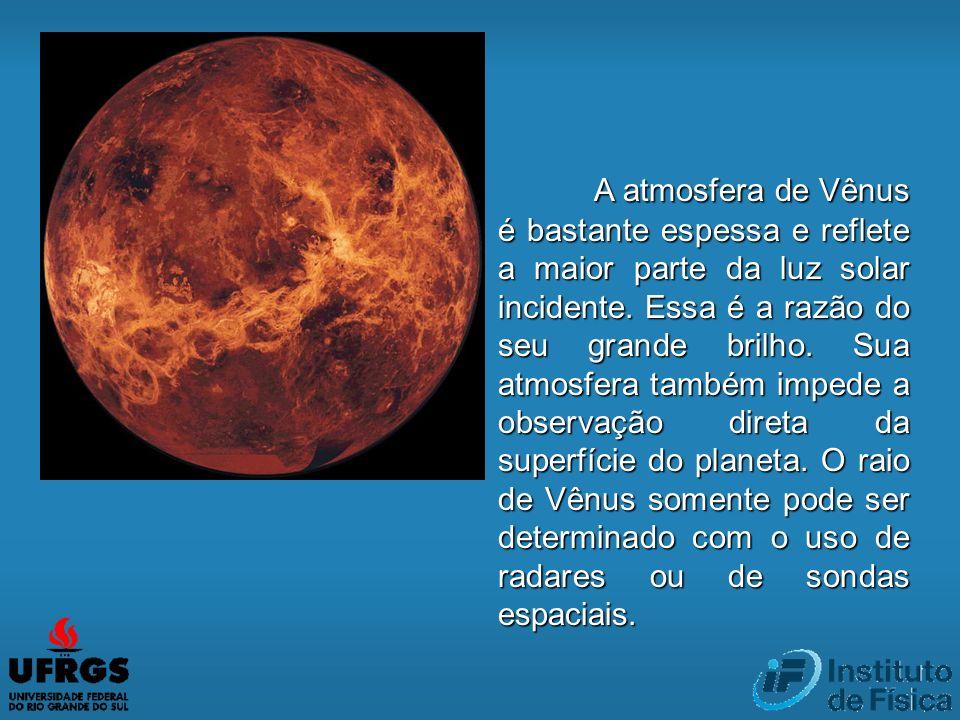 A atmosfera de Vênus é bastante espessa e reflete a maior parte da luz solar incidente. Essa é a razão do seu grande brilho. Sua atmosfera também impe