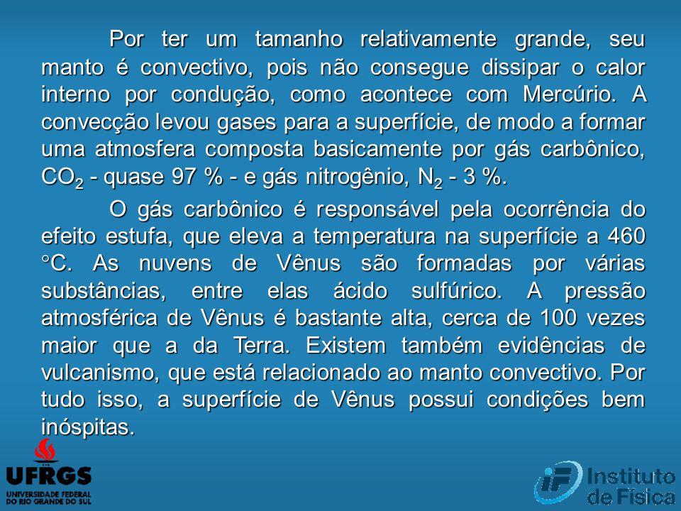 Por ter um tamanho relativamente grande, seu manto é convectivo, pois não consegue dissipar o calor interno por condução, como acontece com Mercúrio.
