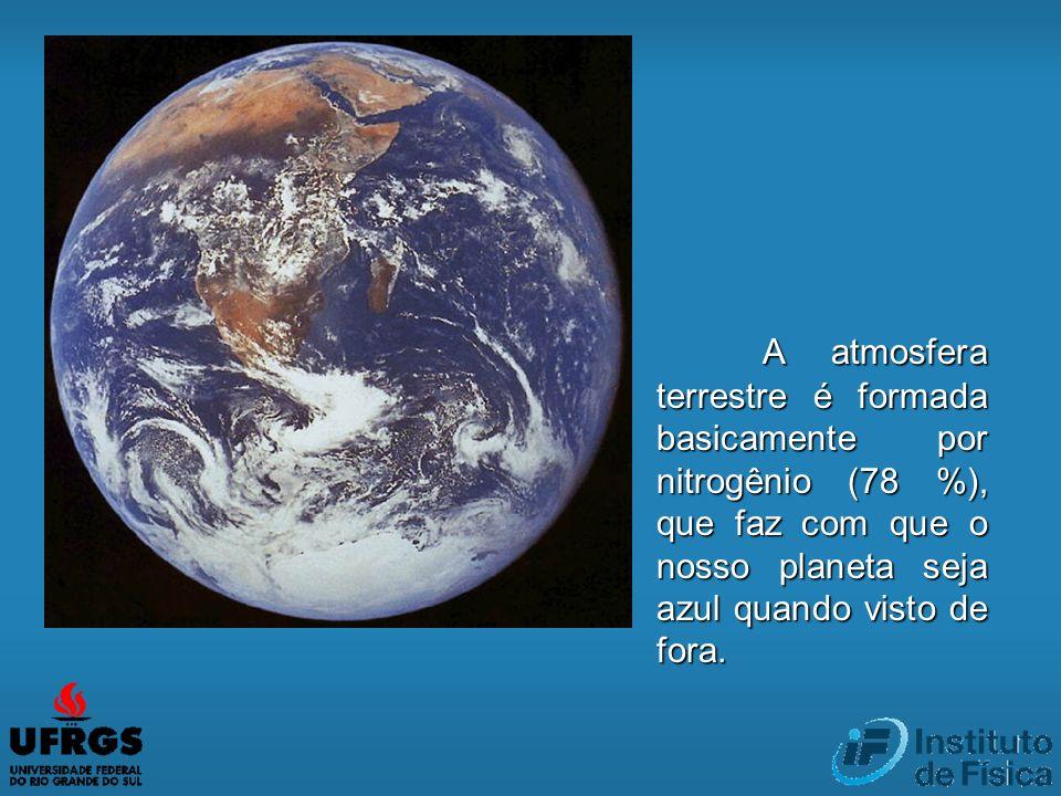 A atmosfera terrestre é formada basicamente por nitrogênio (78 %), que faz com que o nosso planeta seja azul quando visto de fora.