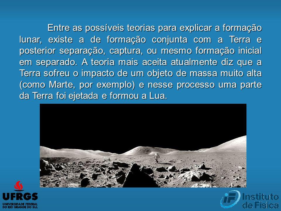 Entre as possíveis teorias para explicar a formação lunar, existe a de formação conjunta com a Terra e posterior separação, captura, ou mesmo formação