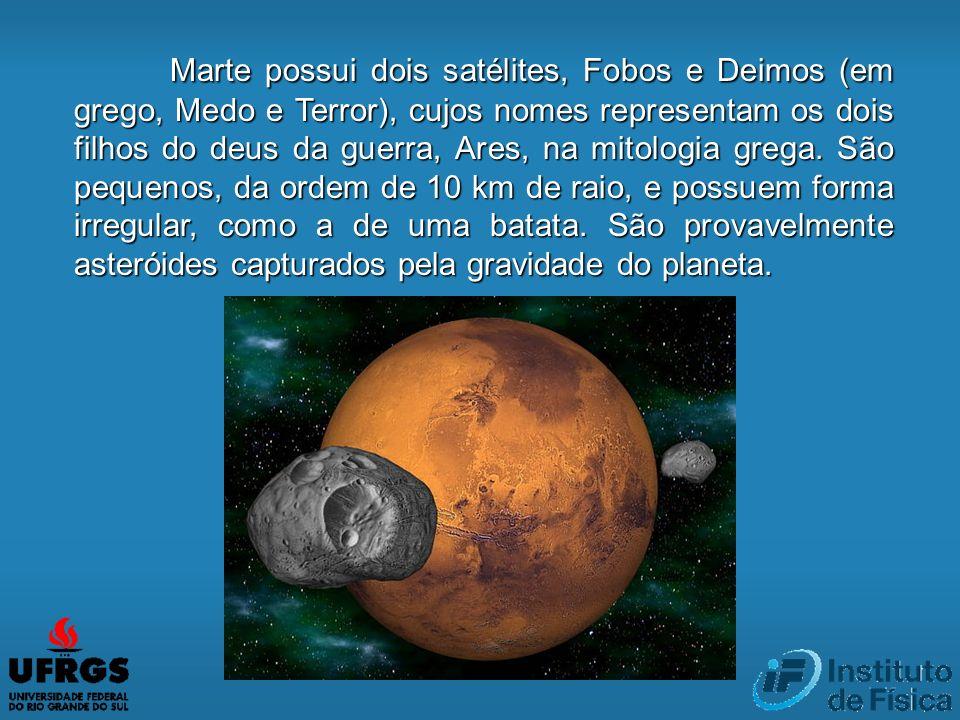 Marte possui dois satélites, Fobos e Deimos (em grego, Medo e Terror), cujos nomes representam os dois filhos do deus da guerra, Ares, na mitologia gr