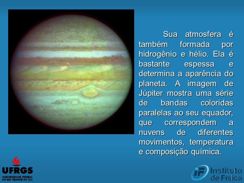 Sua atmosfera é também formada por hidrogênio e hélio. Ela é bastante espessa e determina a aparência do planeta. A imagem de Júpiter mostra uma série