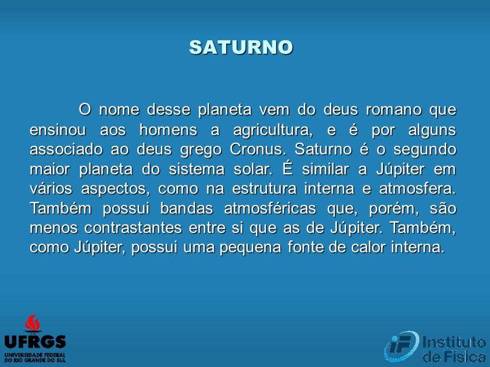 SATURNO O nome desse planeta vem do deus romano que ensinou aos homens a agricultura, e é por alguns associado ao deus grego Cronus. Saturno é o segun