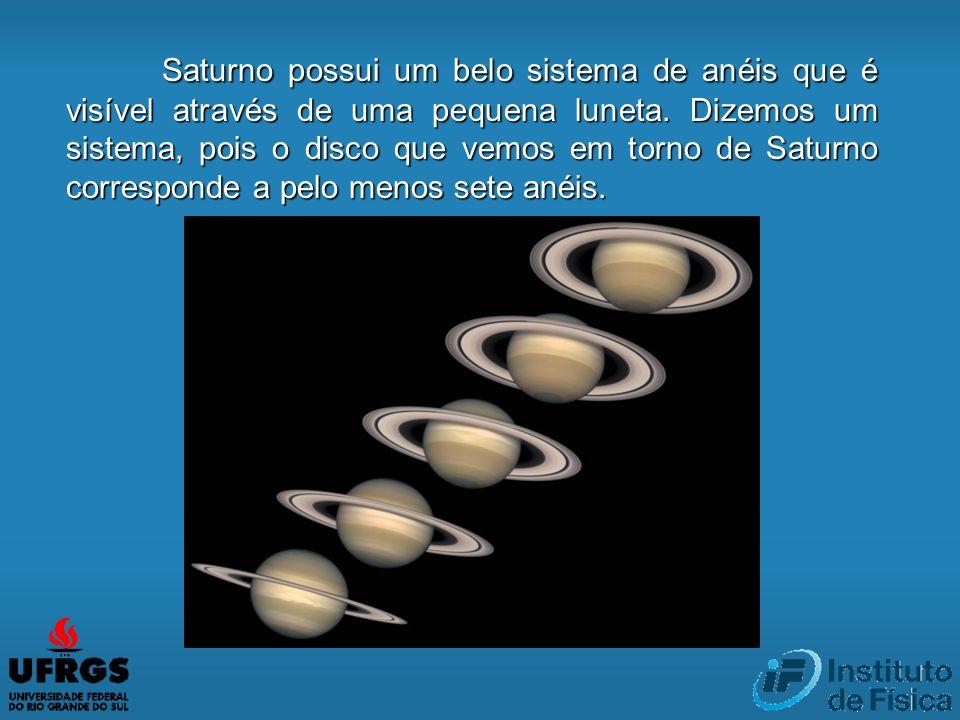 Saturno possui um belo sistema de anéis que é visível através de uma pequena luneta. Dizemos um sistema, pois o disco que vemos em torno de Saturno co