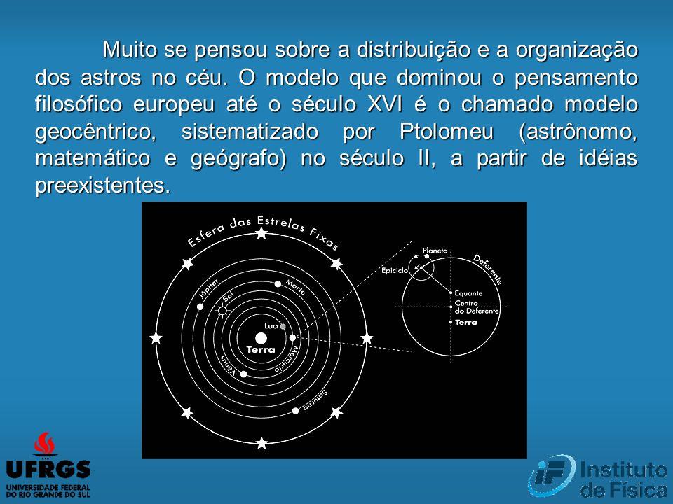 Muito se pensou sobre a distribuição e a organização dos astros no céu. O modelo que dominou o pensamento filosófico europeu até o século XVI é o cham