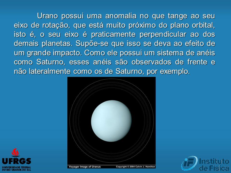 Urano possui uma anomalia no que tange ao seu eixo de rotação, que está muito próximo do plano orbital, isto é, o seu eixo é praticamente perpendicula