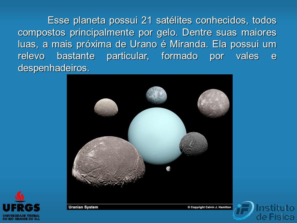 Esse planeta possui 21 satélites conhecidos, todos compostos principalmente por gelo. Dentre suas maiores luas, a mais próxima de Urano é Miranda. Ela
