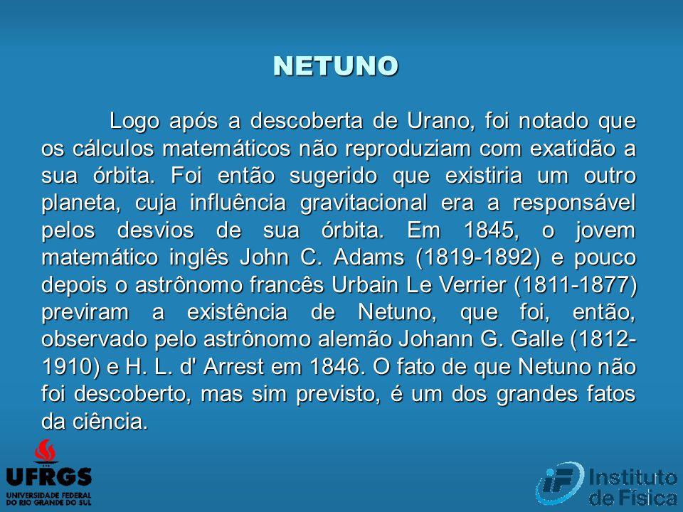 NETUNO Logo após a descoberta de Urano, foi notado que os cálculos matemáticos não reproduziam com exatidão a sua órbita. Foi então sugerido que exist