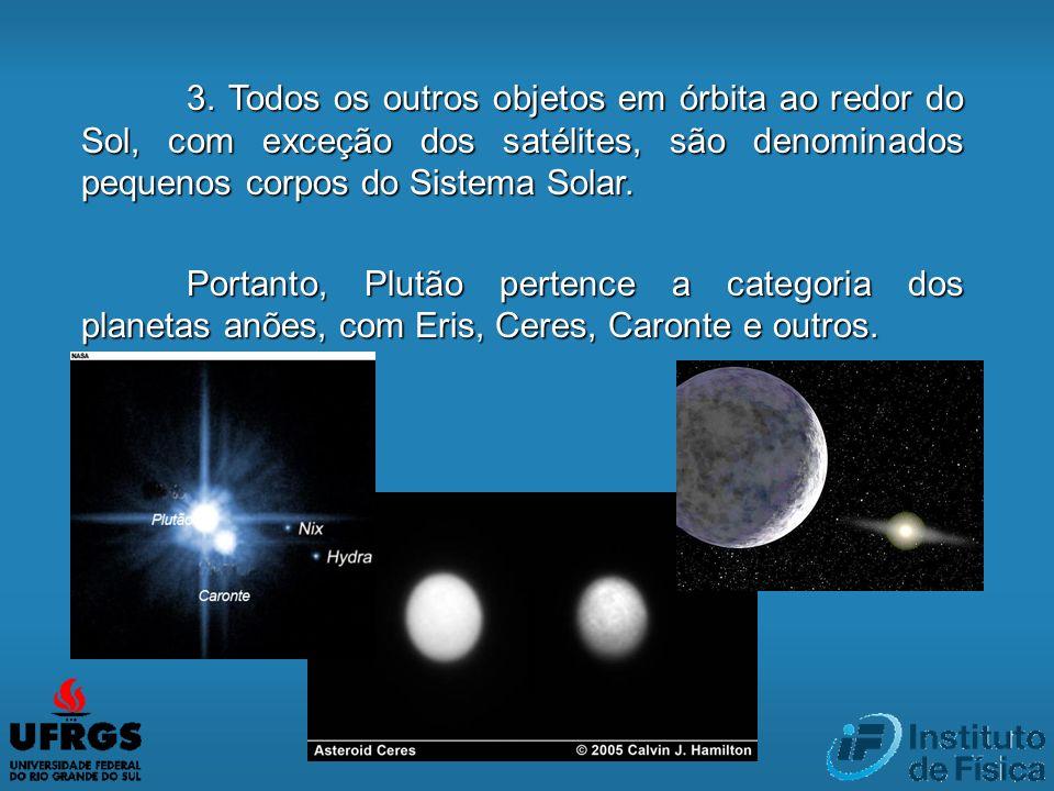3. Todos os outros objetos em órbita ao redor do Sol, com exceção dos satélites, são denominados pequenos corpos do Sistema Solar. Portanto, Plutão pe