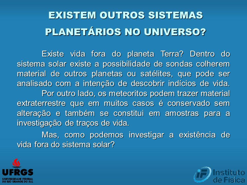 EXISTEM OUTROS SISTEMAS PLANETÁRIOS NO UNIVERSO? Existe vida fora do planeta Terra? Dentro do sistema solar existe a possibilidade de sondas colherem