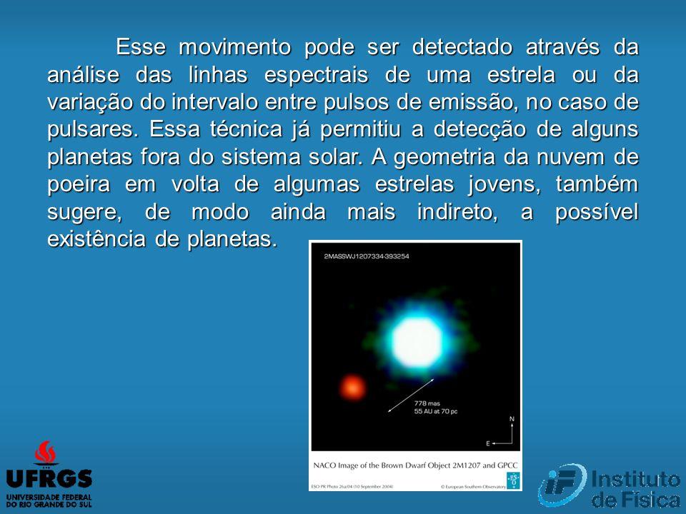 Esse movimento pode ser detectado através da análise das linhas espectrais de uma estrela ou da variação do intervalo entre pulsos de emissão, no caso