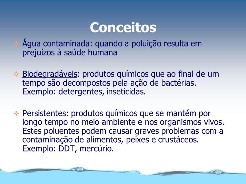 Poluição da água conceito qualquer alteração das suas propriedades físicas, químicas ou biológicas, que possa prejudicar a saúde, a segurança e o bem-