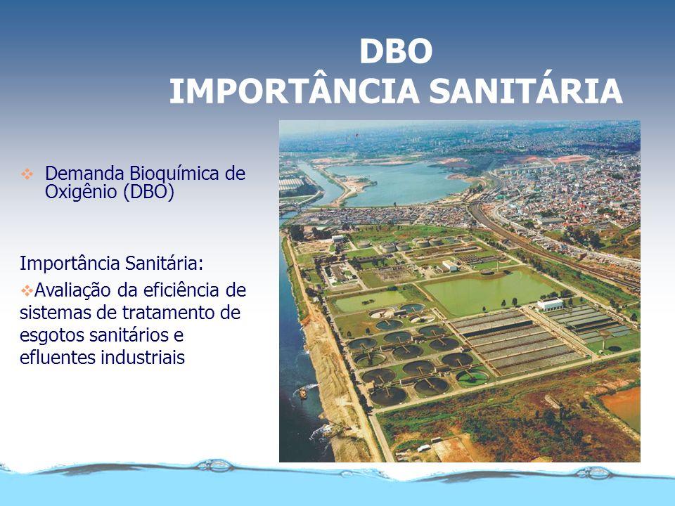 DBO IMPORTÂNCIA SANITÁRIA Demanda Bioquímica de Oxigênio (DBO) Importância Sanitária: Avaliação quantitativa da concentração de material orgânico pres