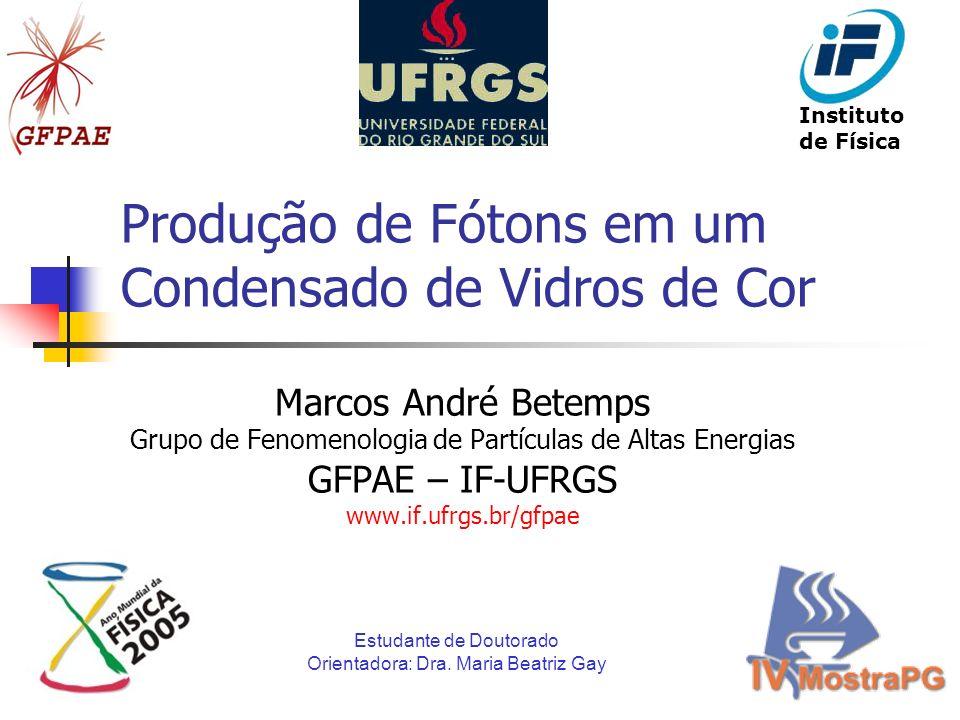 Produção de Fótons em um Condensado de Vidros de Cor Marcos André Betemps Grupo de Fenomenologia de Partículas de Altas Energias GFPAE – IF-UFRGS www.