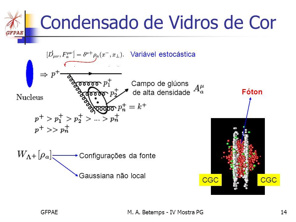 GFPAEM. A. Betemps - IV Mostra PG14 Condensado de Vidros de Cor Campo de glúons de alta densidade Variável estocástica Configurações da fonte Gaussian