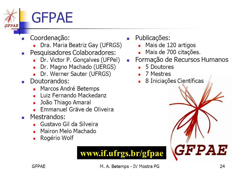 GFPAEM. A. Betemps - IV Mostra PG24 GFPAE Coordenação: Dra. Maria Beatriz Gay (UFRGS) Pesquisadores Colaboradores: Dr. Victor P. Gonçalves (UFPel) Dr.