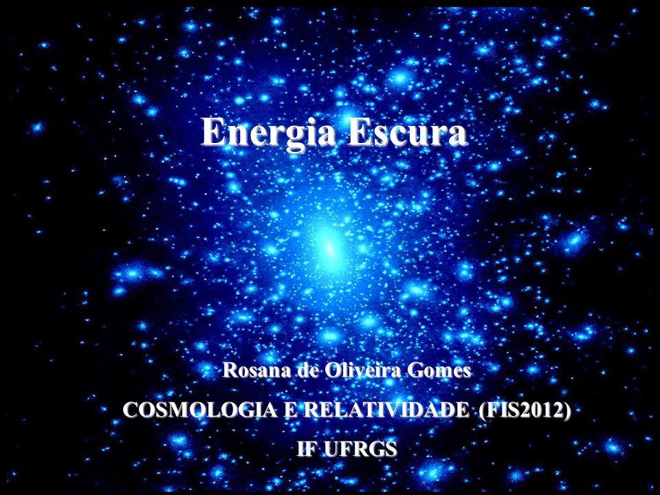 Energia Escura Forma ainda desconhecida de energia que permeia o Universo, aumentando sua taxa de expansão Corresponde à cerca de 74% da densidade de energia do Universo Teorias mais aceitas atualmente: constante cosmológica como energia do vácuo e quintessência (teoria de campos escalares) Conseqüências: Expansão acelerada; Alteração da idade do Universo; Destino final