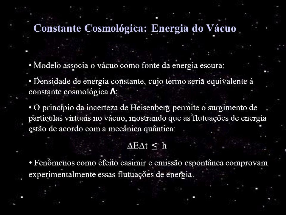 Constante Cosmológica: Energia do Vácuo Modelo associa o vácuo como fonte da energia escura; Densidade de energia constante, cujo termo seria equivale