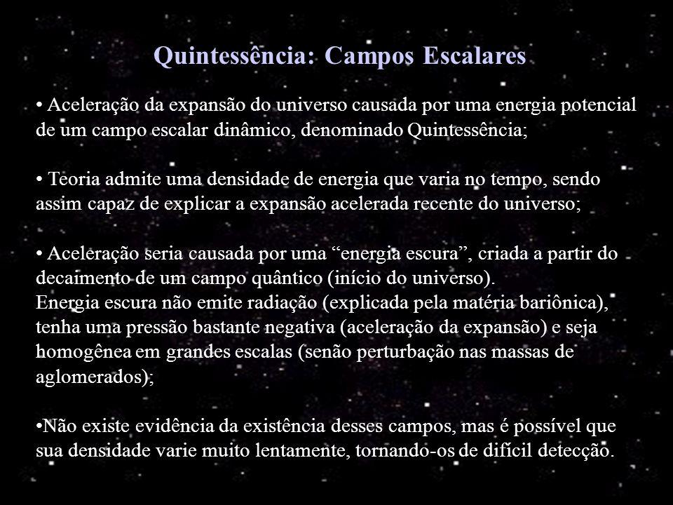 Quintessência: Campos Escalares Aceleração da expansão do universo causada por uma energia potencial de um campo escalar dinâmico, denominado Quintess