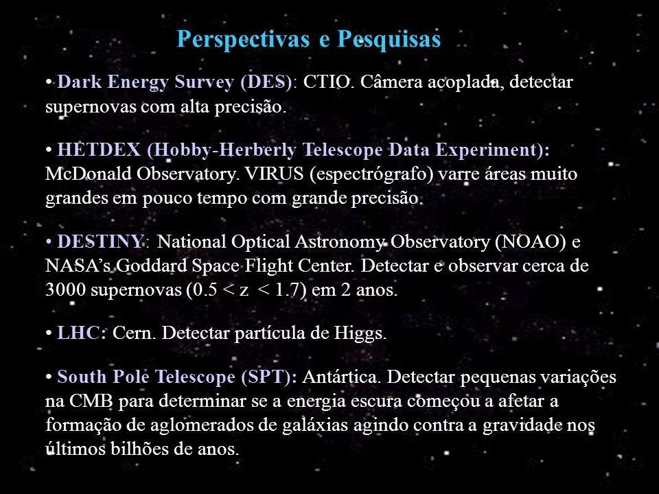Perspectivas e Pesquisas Dark Energy Survey (DES): CTIO. Câmera acoplada, detectar supernovas com alta precisão. HETDEX (Hobby-Herberly Telescope Data