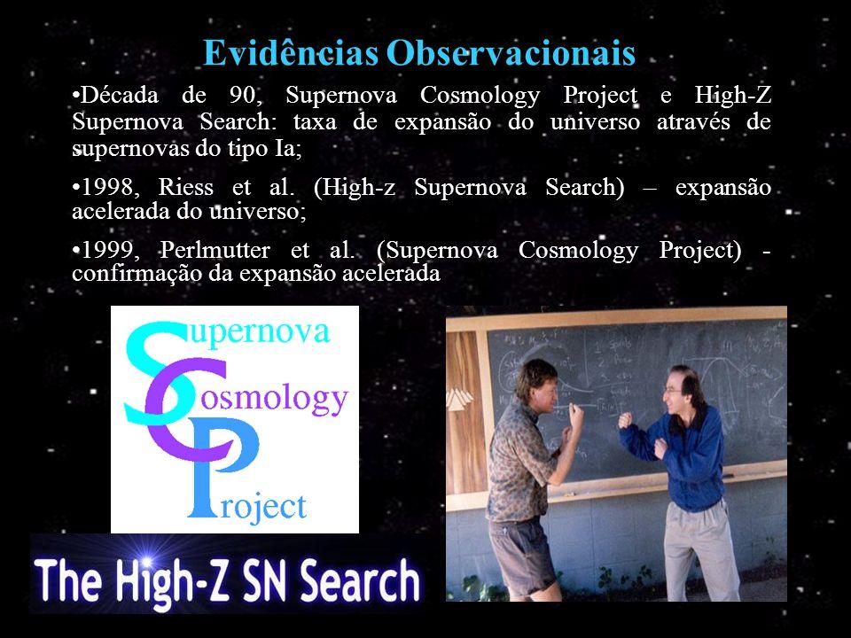 Evidências Observacionais Década de 90, Supernova Cosmology Project e High-Z Supernova Search: taxa de expansão do universo através de supernovas do t