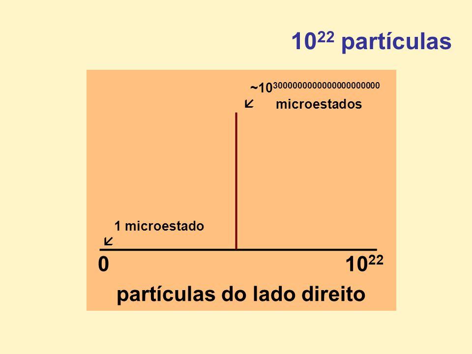 010 22 partículas do lado direito 10 22 partículas ~10 3000000000000000000000 microestados 1 microestado