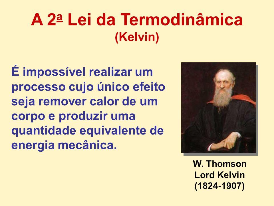 W. Thomson Lord Kelvin (1824-1907) É impossível realizar um processo cujo único efeito seja remover calor de um corpo e produzir uma quantidade equiva