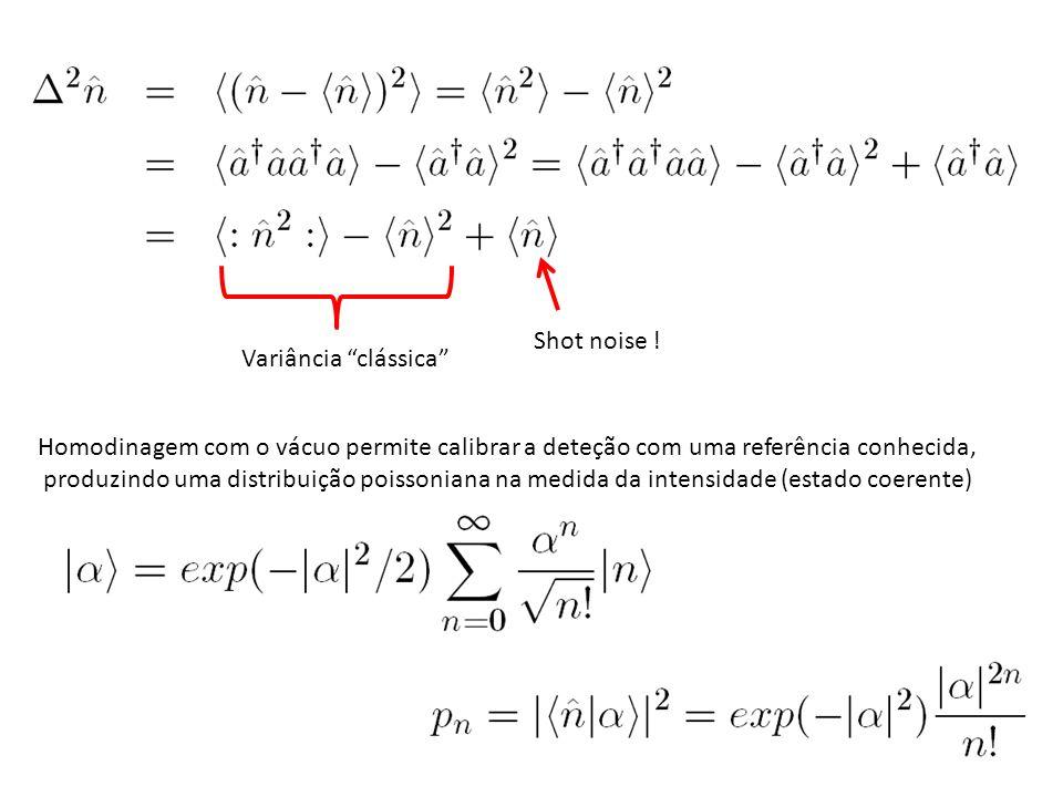 ± BS D2 D1 S.A. Medindo o campo Homodinagem Se Homodinagem do vácuo Calibração do ruído quântico padrão