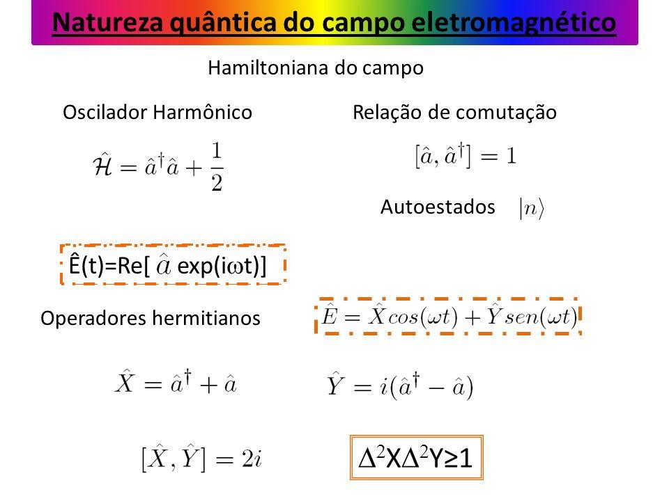 Hamiltoniana do campo Oscilador Harmônico E(t)=Re[ exp(i t)] Relação de comutação Operadores hermitianos Autoestados Natureza quântica do campo eletromagnético X Y1 Ê(t)=Re[ exp(i t)]
