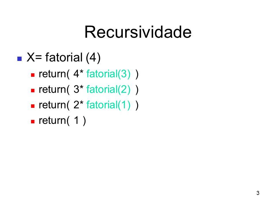 4 Análise de Recursividade T(n) tempo de processar o algoritmo para entrada n número de passos ou operações dominantes – Fatorial – T(n) = 1, se n = 0 – = T(n-1) + 1, se n > 0 mas quanto é T(n-1) ?