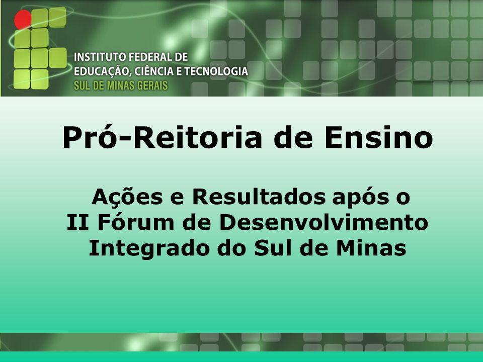 26/10/2010 Pró-Reitoria de Ensino Ações e Resultados após o II Fórum de Desenvolvimento Integrado do Sul de Minas