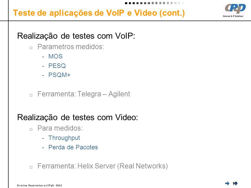 17 Teste de aplicações de VoIP e Video (cont.) Realização de testes com VoIP: Parametros medidos: -MOS -PESQ -PSQM+ Ferramenta: Telegra – Agilent Realização de testes com Video: Para medidos: -Throughput -Perda de Pacotes Ferramenta: Helix Server (Real Networks)