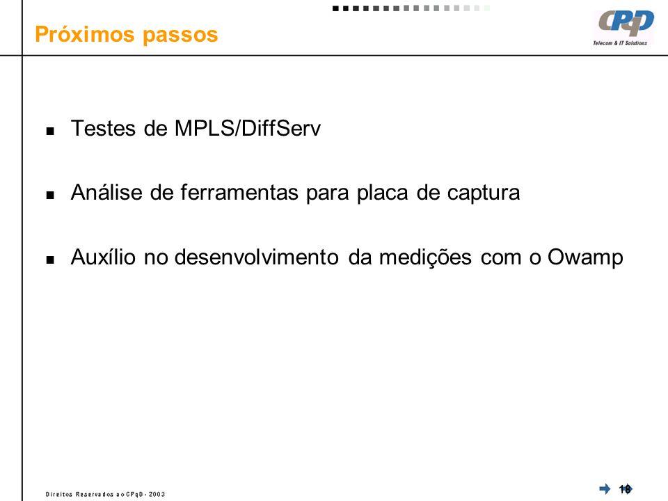 18 Próximos passos Testes de MPLS/DiffServ Análise de ferramentas para placa de captura Auxílio no desenvolvimento da medições com o Owamp