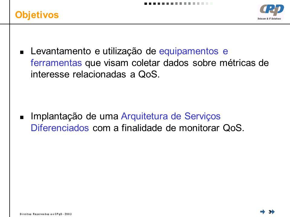 3 Objetivos Levantamento e utilização de equipamentos e ferramentas que visam coletar dados sobre métricas de interesse relacionadas a QoS.