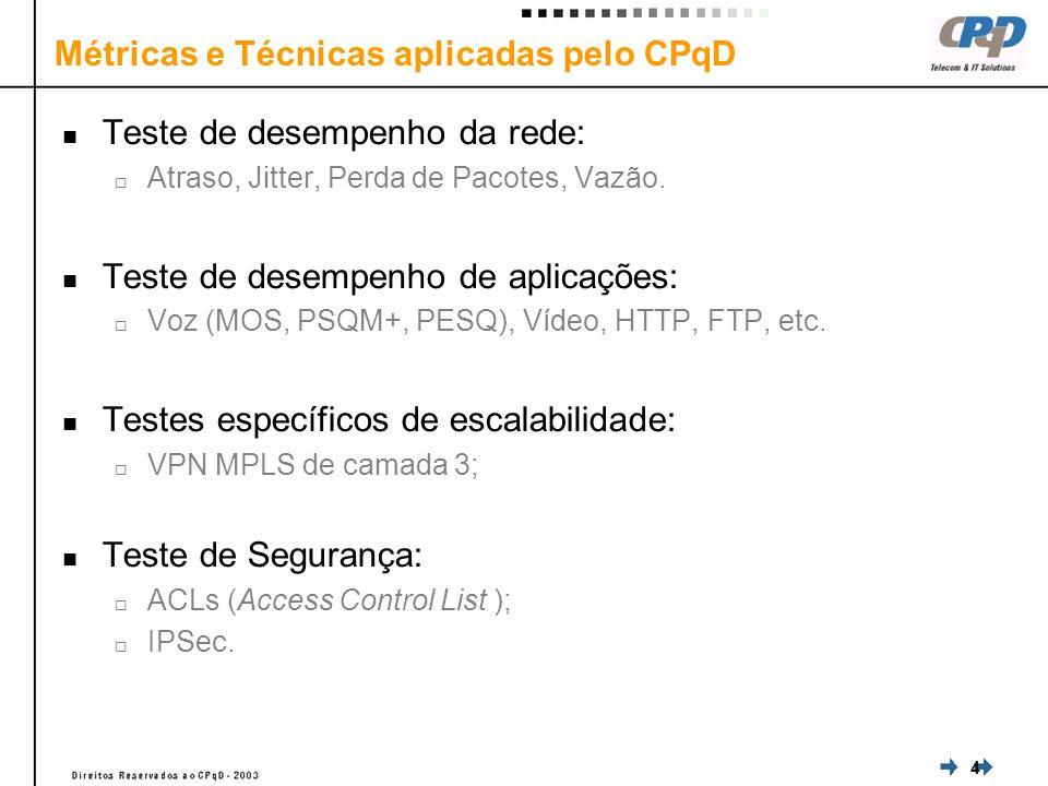 4 Métricas e Técnicas aplicadas pelo CPqD Teste de desempenho da rede: Atraso, Jitter, Perda de Pacotes, Vazão.