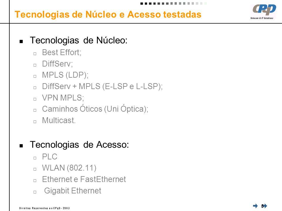 5 Tecnologias de Núcleo: Best Effort; DiffServ; MPLS (LDP); DiffServ + MPLS (E-LSP e L-LSP); VPN MPLS; Caminhos Óticos (Uni Óptica); Multicast.