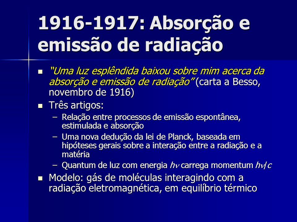 1916-1917: Absorção e emissão de radiação Uma luz esplêndida baixou sobre mim acerca da absorção e emissão de radiação (carta a Besso, novembro de 191