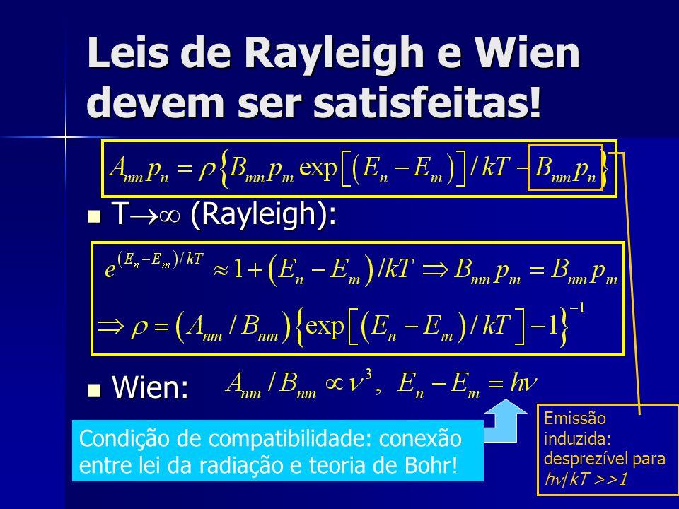 Leis de Rayleigh e Wien devem ser satisfeitas! T (Rayleigh): T (Rayleigh): Wien: Wien: Condição de compatibilidade: conexão entre lei da radiação e te