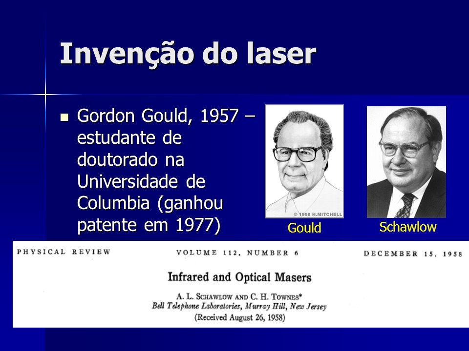 Invenção do laser Gordon Gould, 1957 – estudante de doutorado na Universidade de Columbia (ganhou patente em 1977) Gordon Gould, 1957 – estudante de d