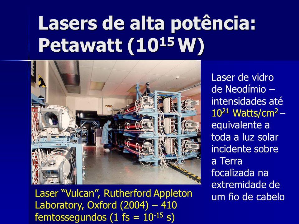 Lasers de alta potência: Petawatt (10 15 W) Laser Vulcan, Rutherford Appleton Laboratory, Oxford (2004) – 410 femtossegundos (1 fs = 10 -15 s) Laser d