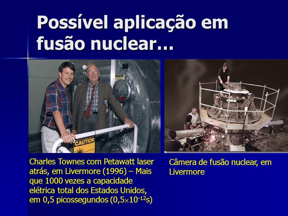 Possível aplicação em fusão nuclear… Charles Townes com Petawatt laser atrás, em Livermore (1996) – Mais que 1000 vezes a capacidade elétrica total do
