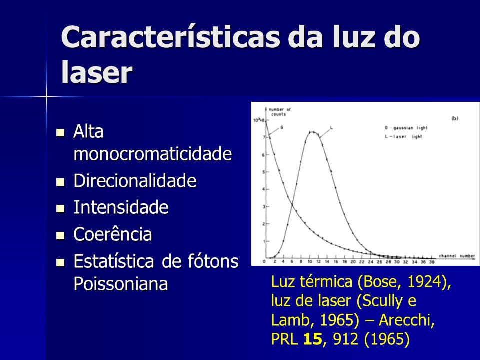 Características da luz do laser Alta monocromaticidade Alta monocromaticidade Direcionalidade Direcionalidade Intensidade Intensidade Coerência Coerên